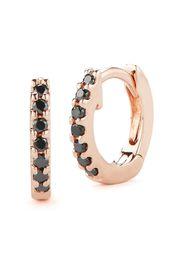 Dana Rebecca Designs 14kt rose gold mini black diamond huggie hoops - Rosa