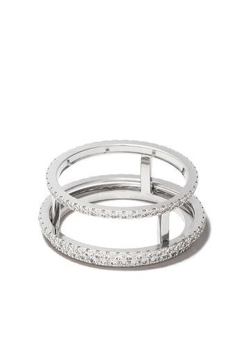 Anello The Horizon in oro bianco 18kt con pavé di diamanti