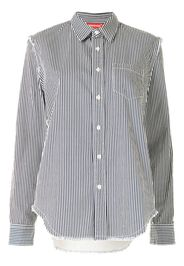 striped raw-cut denim shirt