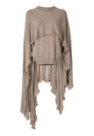 frayed cape-panel jumper