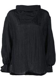 draped-neck long-sleeve blouse