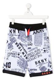 Dkny Kids logo print track pants - Bianco