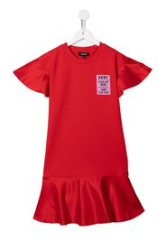 Dkny Kids TEEN logo-patch T-shirt dress - Rosso