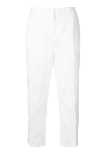 Pantaloni crop effetto jacquard