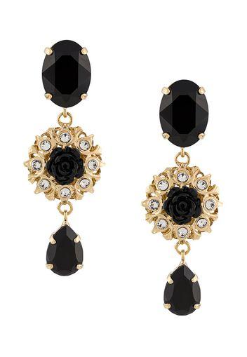 embellished rose pendant earrings