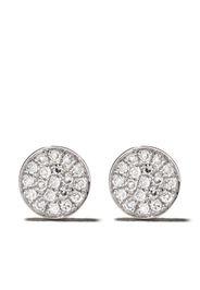 Orecchini a bottone in oro bianco 14kt con mini diamanti