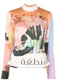 Elle B. Zhou graphic-print silk top - Arancione