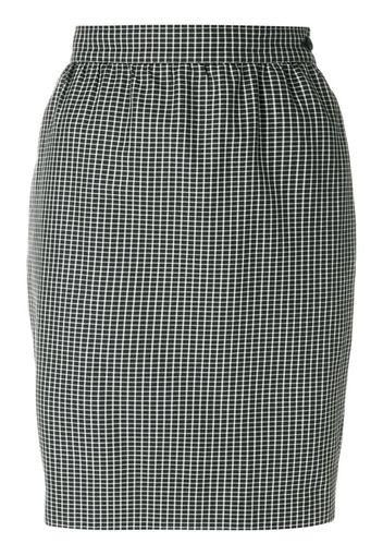 micro check-print pencil skirt