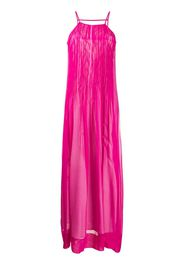 ruched silk maxi dress