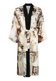 Erika Cavallini Venice-print kimono - Toni neutri