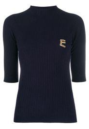 rhinestone monogram knitted top