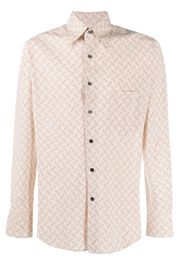 linear-print long sleeved shirt