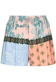 mixed paisley print shorts