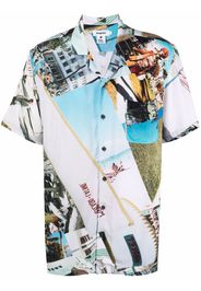 Esteban Cortazar graphic-print shortsleeved shirt - Blu