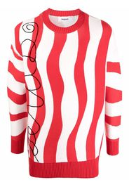 Esteban Cortazar wave-stripe knit jumper - Bianco