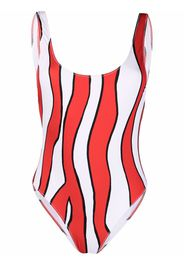 Esteban Cortazar wave print swimsuit - Bianco