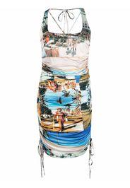Esteban Cortazar patch-work print fitted dress - Toni neutri