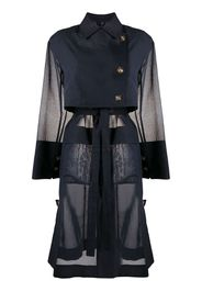 flap-pocket belted organza trench coat