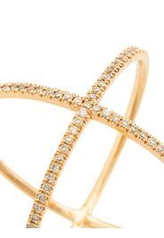 Anello X in oro rosa 18kt con diamanti