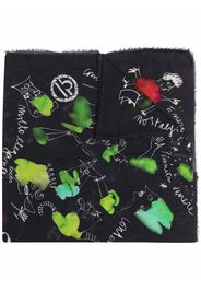 Faliero Sarti graphic-print frayed scarf - Nero