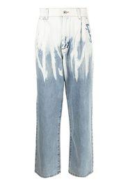 Feng Chen Wang paint-effect straight-leg jeans - Blu