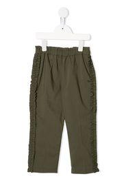 straight leg ruffled trimming trousers