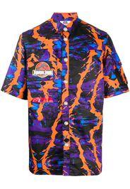 abstract print multi-pocket shirt