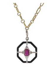 18kt white gold Nikos Koulis enamel and gemstone pendant