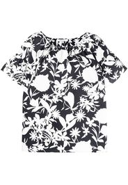 Giorgio Grati floral print flutter-sleeve T-shirt - Bianco