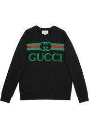 Felpa oversize in cotone con logo Gucci