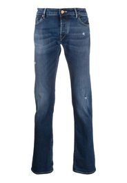 distressed straight-leg jeans