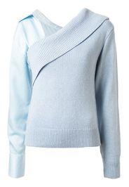 off shoulder detachable sleeve sweater