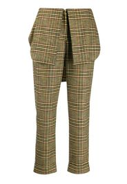 checked foldover-waistband trousers