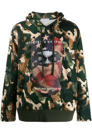 balaclava print camouflage hoodie
