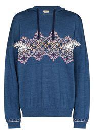 denim knit hoodie