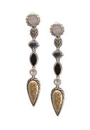 Orecchini pendenti in argento sterling, oro 18kt, pietra della luna e spinello