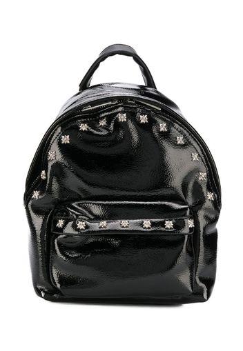 stud-embellished patent backpack
