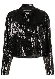 Junya Watanabe Giacca-camicia con paillettes - Nero