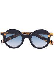 black and brown pollitt round sunglasses