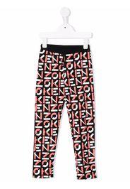 Kenzo Kids graphic-print drawstring-waist track trousers - Nero