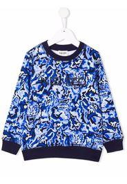 Kenzo Kids tiger-motif cotton sweatshirt - Blu