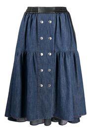 button-detail gathered denim skirt