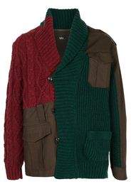 patchwork cable-knit cardigan