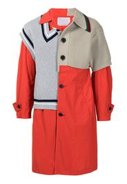 Kolor sweater-panelled trench coat - Rosso