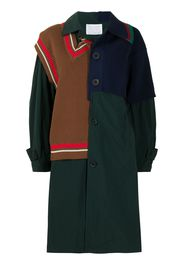 Kolor knitted-panel coat - Verde