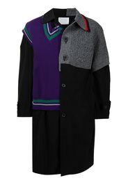Kolor knitted-panel coat - Nero