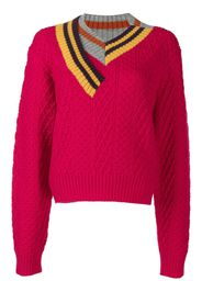 Kolor striped-trim jumper - Rosa