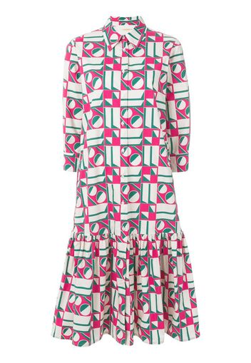 dropped waist geometric print dress