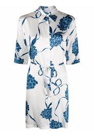 La Perla floral night shirt silk dress - Bianco