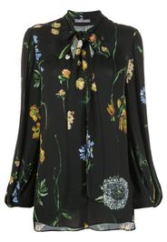 Lela Rose floral georgette pussy-bow blouse - Nero
